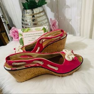 Sperry Hot pink wedges size 9